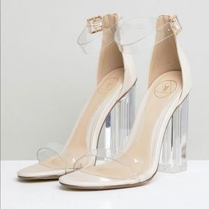 Missguided clear block heels nude